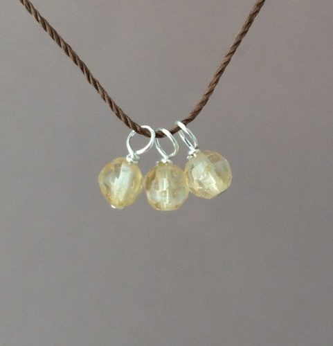 3 Wishes Citrine Stone Silk String Necklace