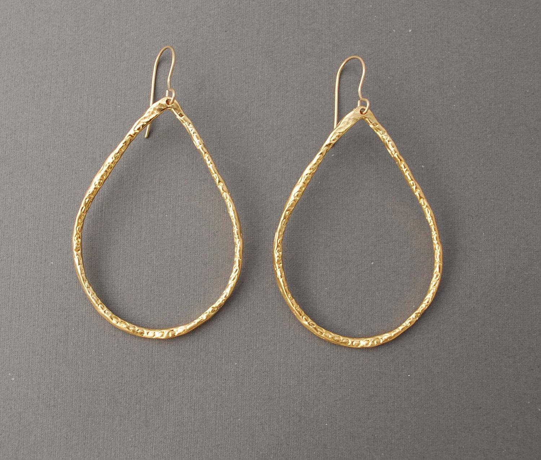 Small Gold Teardrop Hoop Earrings